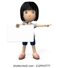 A woman holding a message board. She points to the right side. 3D illustration