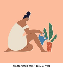 Woman at home watering house plants, leisure indoor activity during period of coronavirus quarantine, self isolation and social distancing illustration.