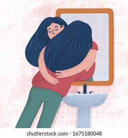 Woman hugging with her reflection in bathroom mirror, self-acceptance, self care concept, raster illustration. Young woman hugging, embracing her reflection, metaphor of unconditional self acceptance