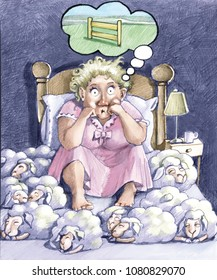 a woman with the insomnia has the bed full of sheep that sleep instead of jumping the fence