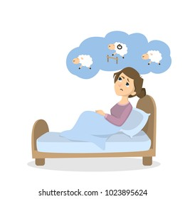 Woman with insomnia. Trying to count sheep on white background..