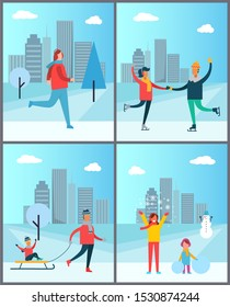 Woman jogging, happy couple dancing on skates, mother and daughter making snowman, dad carries child on sleigh, people spending time together poster set