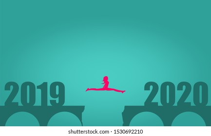 A woman jump between 2019 and 2020 years. Human silhouette jumping over a gap in the bridge