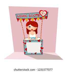 Woman in kissing booth