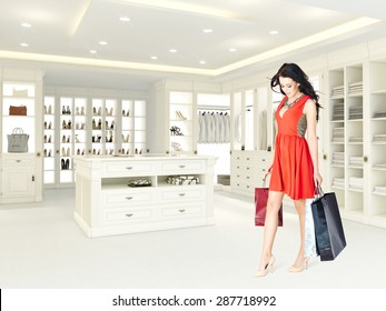 woman in large bright closet. 3d rendering