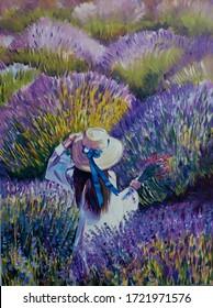 Woman in lavanda field original painting oil on canvas art