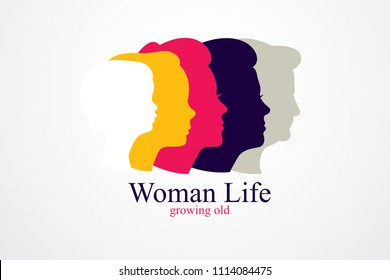 Woman life age years concept, the time of life, periods and cycle of life, growing old, maturation and aging, one generation and age categories. simple classic icon or logo design.