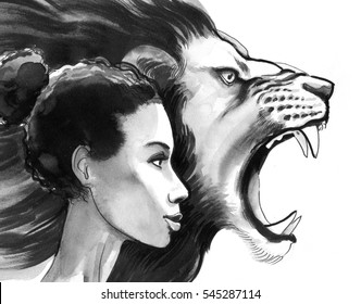 Woman and lion