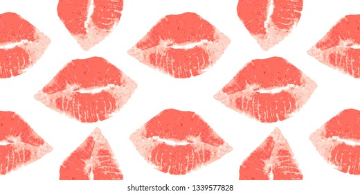 Woman lips pattern with trendy colors.  Lipstick kiss.