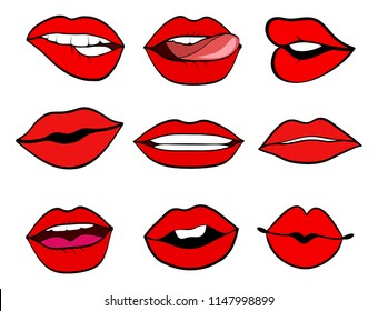 Woman lips set pop art retro vector style. Mouth with a kiss, smile, tongue. Illustration isolated on white background.