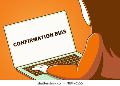 Woman looking at a laptop screen with the words confirmation bias