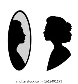 woman Looking to mirror Silhouette
