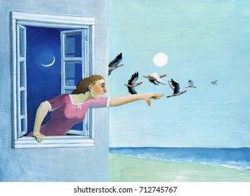 a woman looks out of her window extends an arm to try to grab wild geese flying far into the sky, below you see a september colorful beach