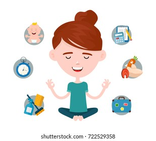 Woman in a lotus yoga pose relaxes surrounded by domestic and work problems. modern flat style cartoon character illustration. Isolated on white background.