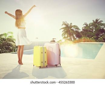 woman in luxury resort near the swimming pool. 3d rendering