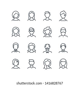 Woman and man face line icons. Female male profile outline symbols with different hairstyles. people avatars isolated. Character person portrait, male and female outline illustration
