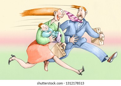 woman and man in run for the job her he brings behind the care of her children and the house for which she must do more work humor illustration