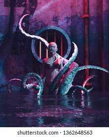 Woman with a monster creature in abandoned sewer,3d rendering