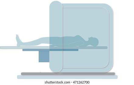 Woman in MRI (white background)