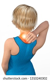 Woman with neck pain, muscle pain, tearing and twisting. Cervicalgia, symptoms of torticollis. Contracture of the trapezius and of the other muscles of the neck. Cold shot, 3d rendering