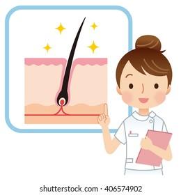 woman nurse to explain the hair