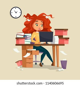Woman in office stress illustration of cartoon girl manager working on computer with disheveled messy hair and documents piles. Overwork and deadline office work concept