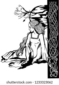 Woman in old clothes sitting under the moon. Celtic ornament. ink / pen. Illustration for printing.