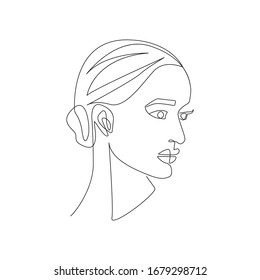 Woman One Line Abstract Drawing. Minimalist Woman Portrait. Black And White, Sketch Art. Female Poster Design. Raster copy.