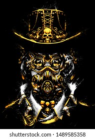 A woman painted in steampunk style with glasses and a mask on her face, with gold elements in her clothes. 2D Illustration