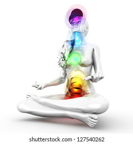 A woman performing a full chakra meditation. 3D rendered illustration.