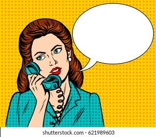 Woman with phone pop art retro raster illustration. Comic book style imitation.