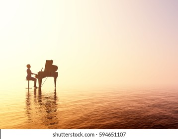 Woman playing the piano.,3d render