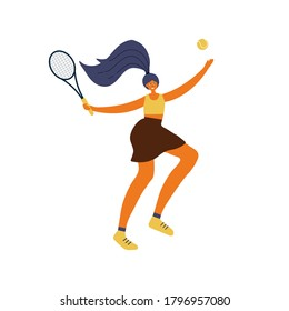 Woman playing tennis. Sportswoman with racket. Young girl in sportswear isolated on white background. Active lifestyle concept. Hand drawn illustration in cartoon flat style.