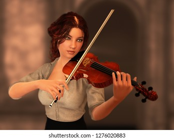 Woman playing violin. Blurred ancient wall in background. 3D rendering.