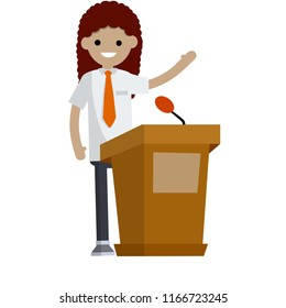 Woman politician standing at the podium with a microphone. Protection of rights in elections. Civil servant. state Institute. Slogans and debates.