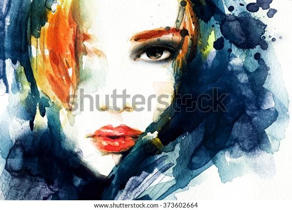woman portrait .abstract watercolor .fashion illustration