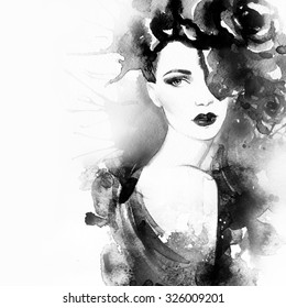 Woman portrait .Beautiful face. Abstract watercolor. Fashion background