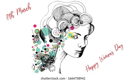 Woman Portrait Drawing on the Concept of Happy Women's Day. 8th March Banner. Beauty. Pretty Woman. Artistic. Creative Drawing. Icon. Abstract. Art. Holiday. Lettering. Text. Graphic. Design Element.