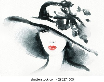 woman portrait with hat .abstract watercolor .fashion background