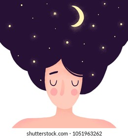 Woman portrait. Night sky in the hair. Hand drawn illustration