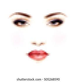 Woman portrait. Pixel art. Abstract illustration.