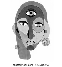 Woman portrait with third Eye in modern abstract style. Hand drawn raster illustration for your contemporary fashion design.