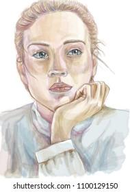 Woman Portrait. Watercolor female portrait. Sad look. White isolated.