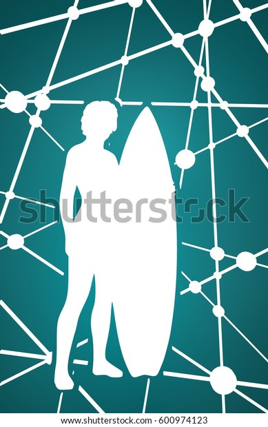 Woman posing with surfboard. Neon shine silhouette. Molecule And Communication Background. Modern brochure or report design template. 3D rendering