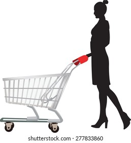 woman in profile with the shopping cart
