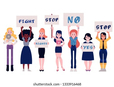 Woman protesters illustration set with isolated diversity multiracial girls standing with megaphone and placards in flat style - fighting for female rights and feminism concept.