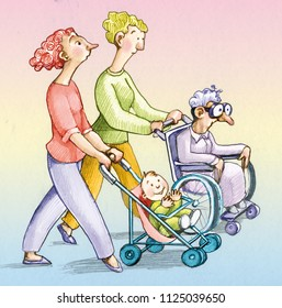 a woman pushes a stroller with a baby stroller she looks worried another woman that pushes a wheelchair with an elderly