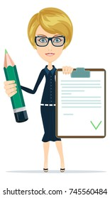 woman with a questionary and big green pencil. Stock illustration for poster, greeting card, website, ad, business presentation advertisement design