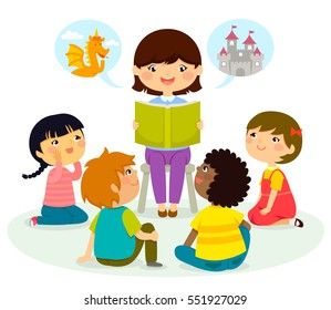 woman reading a book to young children