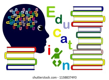 Woman reading parenting guide. Studying a number of books on education, trying to find answers